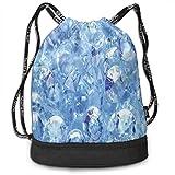 MLNHY Printed Drawstring Backpacks Bags,Abstract Close Up of Various Fashion Diamonds Crystal Sea Digital Prints,Adjustable String Closure