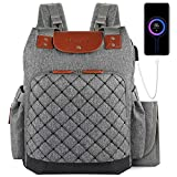 5. Diaper Bag Backpack with Changing Mat, Large Capacity Multifunction Baby Diaper Backpack for Mom, with Waterproof Wet Pocket USB Charging Port Stroller Straps and Insulated Pockets for Boy Girl (Grey)