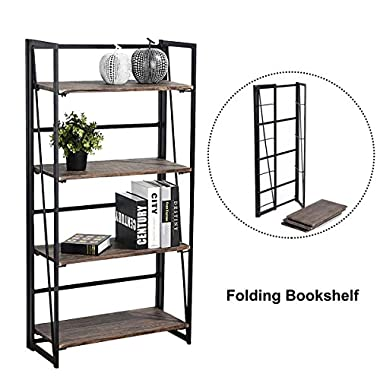 Folding Bookshelf Rack 4-Tiers Bookcase Home Office Shelf Storage Rack No-Assembly Industrial Stand Sturdy Shelf Organizer 23.6 X 11.6 X 49.2 Inches