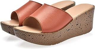 AUCDK Women Mules Sandals Wedge Flip Flops Summer Mules Sandals Peep Toe Summer Casual Shoes Beach Slippers