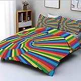 Juego de funda nórdica, figuras giratorias geométricas de colores del arco iris con diseño óptico de perspectiva en contraste Juego de cama decorativo de 3 piezas con 2 fundas de almohada, multicolor,