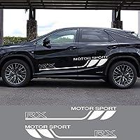 ZYHZJC 2個の車体装飾ラップスポーツトリムPVCデカール車のドアサイドストライプグラフィックビニールフィルムステッカー レクサスRX用
