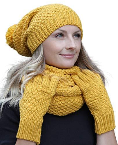 Hilltop Winter Kombi Set aus Winter Schal, passender Strickmütze und Handschuhe, Curry mit Handschuhen