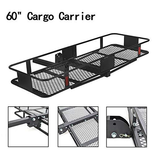"ARB MARKET 60"" Trailer Hitch Luggage Rack For Vehicle, Folding Car Truck Cargo Carrier Basket Luggage Rack Hitch Hauler Receiver (Black)"