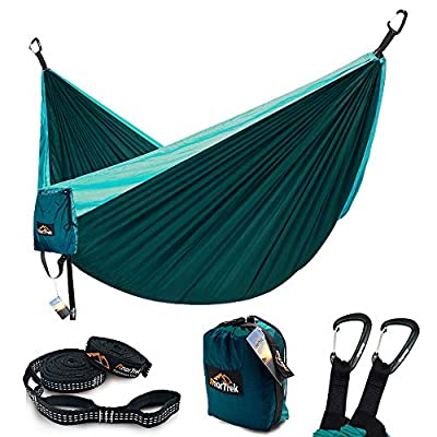 AnorTrek Camping Hammock, Lightweight Portable Single & Double Hammock with Tree Straps [10 FT/18+1 Loops], Parachute Hammock for Camping, Hiking, Garden, Yard (Dark Blue&Blue, Single 55''W x 112''L)