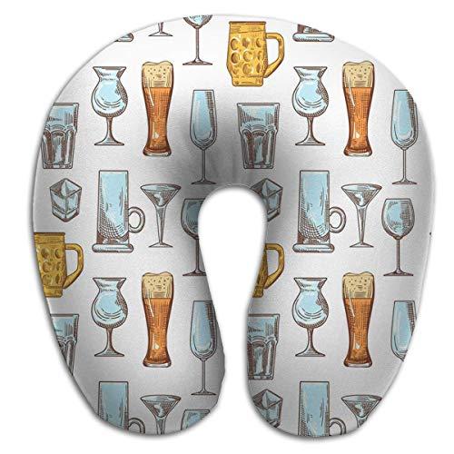 Almohada en Forma de U, Almohada de Descanso para el Dolor de Cuello, Bebidas Diferentes Vasos para Bebidas Copas de Patrones sin Fisuras Vasos para Bebidas Diferentes PLW-1058