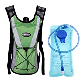 Monvecle Hydration Pack Water Rucksack Backpack Bladder Bag Cycling Bicycle Bike/Hiking Climbing Pouch + 2L Hydration Bladder Green