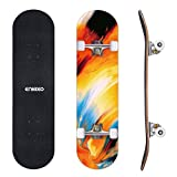 ENKEEO Skateboards Complete 32' 9 Ply Maple Wood Double Kick Concave Skateboards for Girls, ABEC-9 Tricks Stake...