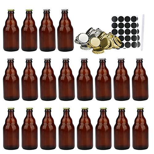 Beer Bottles, 20 PCS COMUDOT 330ml Amber Glass Wine Bottles for Home Brewing with 20 Silver & 20 Gold Screw Lids,Cute Brown Beer Bottles with Stickers and pen for Drinks, Parties