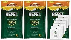 small 94100 Repel sportsmen 30% DEET Mosquito Wipe, 3 packs, 20-60 in total!