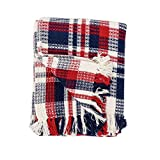 C&F Home Harbor Plaid Patriotic USA 4th of July Memorial Day Labor Day Cookout Americana Liberty Decorative Throw Blanket 50x60 inches Harbor Red/Blue