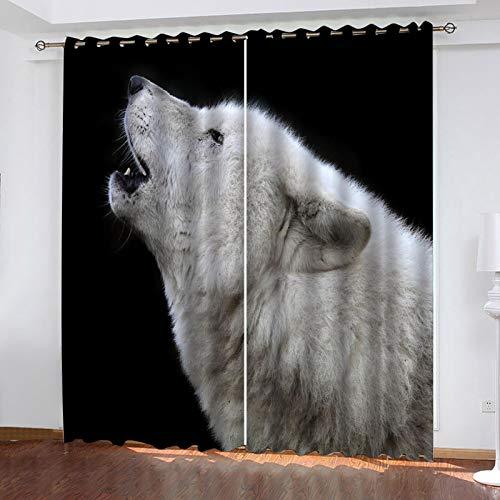 WLHRJ Cortina Opaca en Cocina el Salon dormitorios habitación Infantil 3D Impresión Digital Ojales Cortinas termica - 234x230 cm - Lobo Animal Blanco