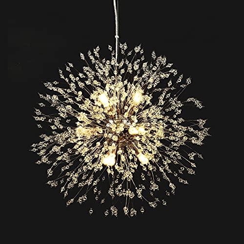 Lingkai Moderne LED Lampe Kristall Deckenleuchte Elegante Runde Kronleuchter Chrom-Finish Runde Pendelleuchte für Schlafzimmer Wohnzimmer Restaurant Esszimmer Unterputz Hängeleuchte Φ 50cm (Chrome)