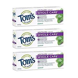 NATURAL CAVITY PROTECTION: Contains 3 - 4.0-ounce tubes of Tom's of Maine Whole Care Toothpaste in Spearmint flavor. Toms natural toothpaste is total mouth care. It gently whitens teeth and fights cavities, while freshening breath and preventing tart...