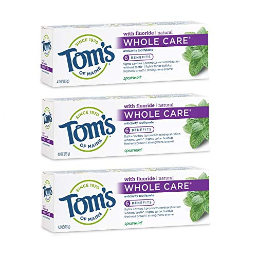 Tom's of Maine Whole Care Natural Toothpaste with Fluoride, Spearmint, 4 oz. 3-Pack