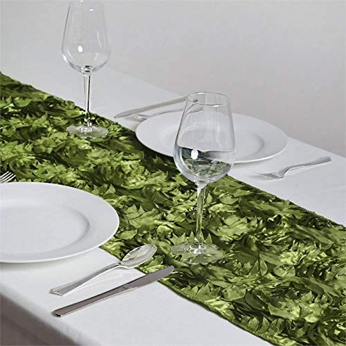 Efavormart Wonderland Rosette Premium Table Runners for Weddings Party Banquets Decor Fit Rectangle and Round Table - Moss/Willow