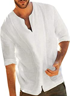 Men Long Sleeve Solid Shirt, Male Baggy Cotton Linen Solid Color 3/4 Sleeve V Neck T Shirts Tops Office Casual Blouses
