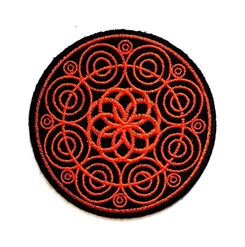 Black Orange Circle Lotus Buddha Patch Buddha Buddhist Trance aum om Yoga Retro Boho Hippie Embroidered Badge Iron On Sew On Emblem Logo Jackets Dress Hat Vest Jeans Backpacks Clothes