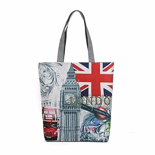 Stoffbeutel Baumwolltasche Beutel Shopper Umhängetasche,London Big Ben Canvas Tote Casual Strandtaschen Frauen Einkaufstasche Handtaschen (A)