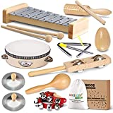 LOOIKOOS Toddler Musical Instruments International Natural Wooden Music Set for Toddlers and Kids-Eco Friendly Preschool Educational Musical Toys with Storage Bag