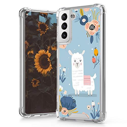 MOWIME Samsung Galaxy S21 Plus 5G Case (2021) 6.7 Inch Clear Alpaca Flower Design 4 Air-Guard Corners Shockproof Anti-Fall Slim Fit Soft Edges Thin Hard PC + Flexible TPU Frame for Women Girls Man