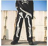 WoJogom Otoño e Invierno para Hombres y Mujeres Pantalones Vaqueros Estampados con Elementos de Halloween Pantalones Vaqueros de Pierna Ancha y Recta Pantalones Casuales elásticos de Moda