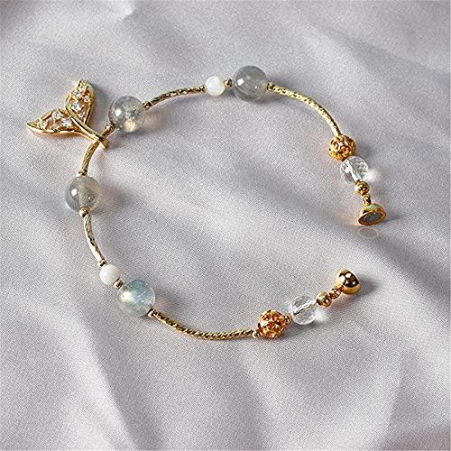 Pulsera Feng Shui Bead Feng Shui Lucky Bracelet Natural Grey Moonstone Diamond-Studded Pescado colgante Colgante Cristal Brazalete Buena suerte Zhao Peach Blossom Amulamiento rico Amuleto Pulsera para