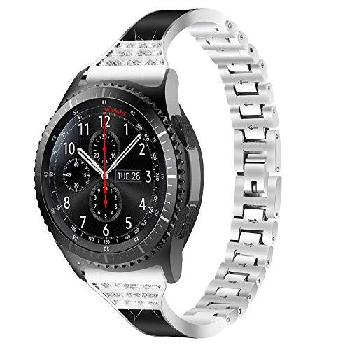 Correa de Reloj de Acero Inoxidable Correa de Repuesto Correa de Metal de Cadena de Diamantes de Imitación