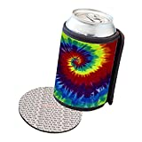Insulated Beer Soda Can Cooler Coolie Cover - Tie Dye Painting