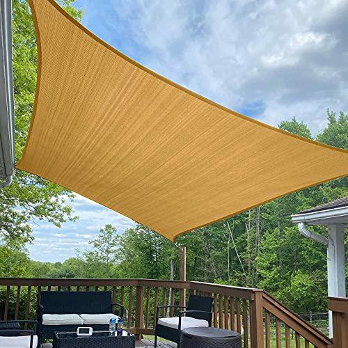 Coolyard 12'x16' Sun Shade Sails Rectangle 185GSM Sun Sail Shades Patio Sunshade UV Block for Outdoor Backyard Garden Lawn Sand
