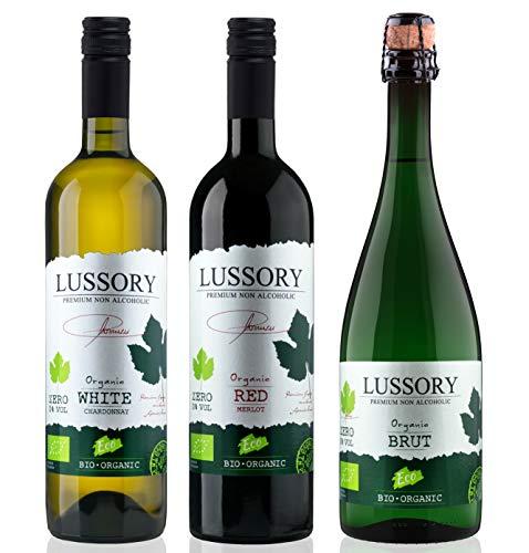 Vino desalcoholizado Orgánico - LUSSORY - Blanco+Tinto+Espumoso (Lote de 3botellas x0,75) SIN ALCOHOL