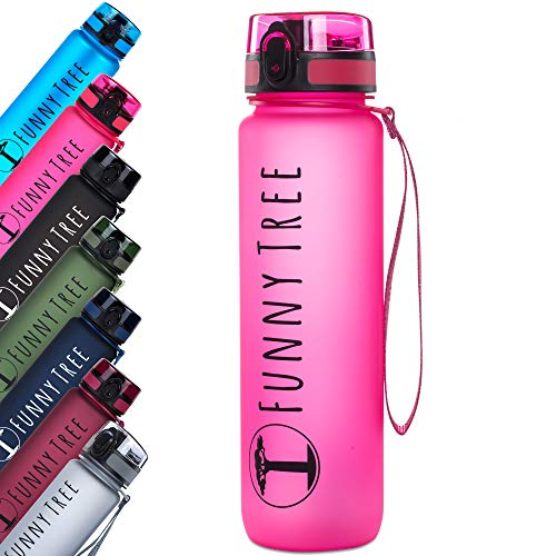 Funny Tree® Trinkflasche aus Tritan. 500ml hot pink. Water Bottle BPA frei und auslaufsicher! Ideal als Sportflasche, Wasserflasche oder beim Wellness. Auch bestens für Kinder geeignet.