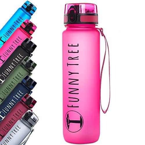 Funny Tree® Trinkflasche aus Tritan. 1000ml hot pink. Water Bottle BPA frei und auslaufsicher! Ideal als Sportflasche, Wasserflasche oder beim Wellness