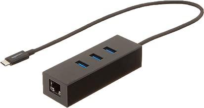 AmazonBasics USB 3.1 Type-C to 3 Port USB Hub with Ethernet Adapter - Black