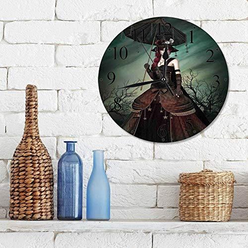 Silencioso Wall Clock Decoración de hogar de Reloj de Redondo,Gótica, estilo grunge misteriosa mujer extraña en el bosque con su paraguas Dark Night Retr,para Hogar, Sala de Estar, el Aula
