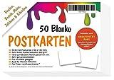 50 Blanko Postkarten beidseitig weiss A6 - ohne Linien/Briefmarkenfeld - ALLES selbst gestalten bemalen beschreiben - totale kreative Freiheit
