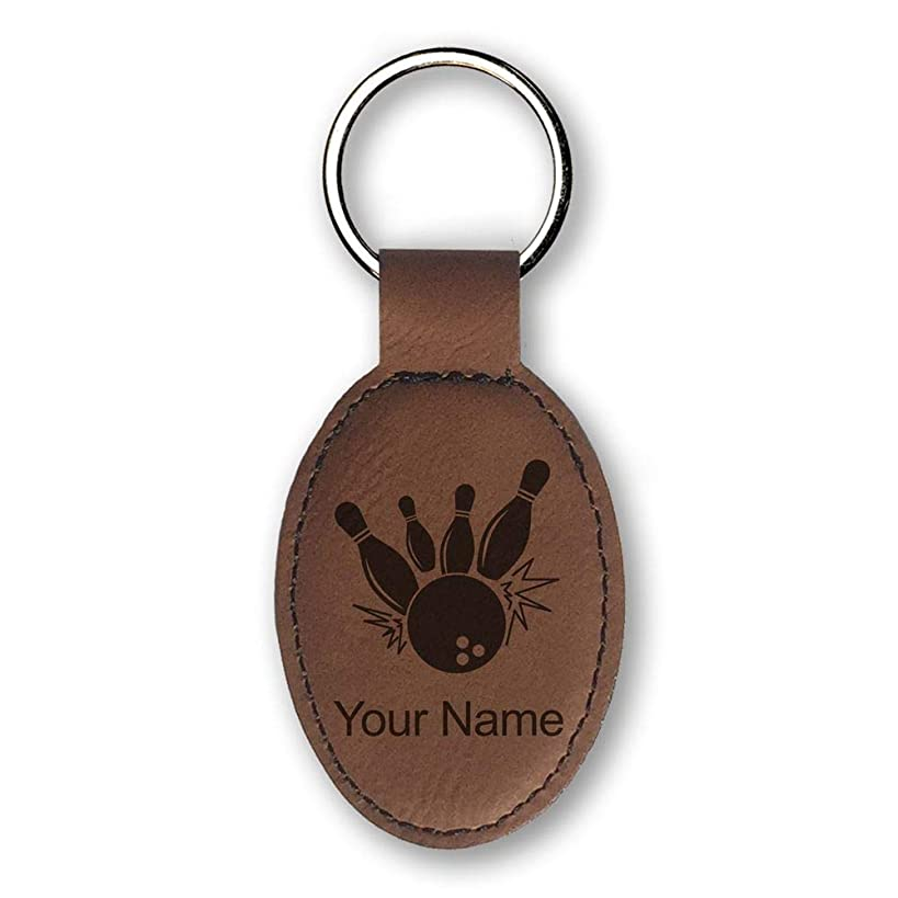 Oval Keychain, Bowling Ball and Pins, Personalized Engraving Included (Dark Brown)