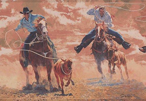 Hunters with Lasso Rope Bull Vintage Wallpaper Border Retro Design, Roll 15