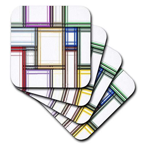 3dRose CST_205013_3 Posavasos cerámicos de impresión de Colores primarios sobre Formas geométricas, Juego de 4