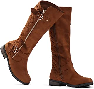 Women's Knee High Boots - Winkle Back Shaft - Side Quilted Zipper - Flat Accent Riding Boot