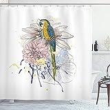 ABAKUHAUS Tropisch Duschvorhang, Papagei auf Blumenstrauß, mit 12 Ringe Set Wasserdicht Stielvoll Modern Farbfest & Schimmel Resistent, 175x200 cm, Mehrfarbig