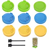 86mm Plastic Sprout Jar Strainer Lids + Wide Mouth Lids, Sprouting Germination Kit (Blue Green...
