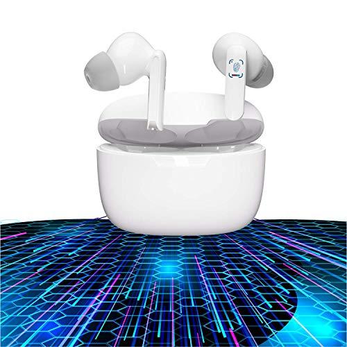 Auricular Bluetooth 5.1, Auriculares inalámbricos Bluetooth In-Ear Mini Auriculares, reducción del Ruido estéreo 3D HD -IPX6 Resistentes al Agua-Blanco for iPhone/Airpods/AirPods Pro/Apple