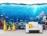 Papel Pintado Fotomurales 3D Acuario Blue Ocean Undersea Life Salón Dormitorio Despacho Pasillo Decoración Murales decoración de Paredes Moderna 250x175cm