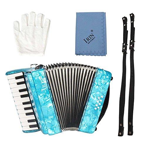 Pianoakkordeons 22-Tasten 8 Bass Keyboard Akkordeon Ensemble Ausführendes Instrument Ahornholz Pädagogisches Musikinstrument Spielzeug mit Riemen für Kinder Anfänger Studenten Amateur(Blau)