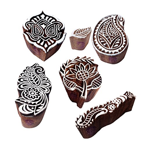 Handmade Designs Finger and Paisley Wooden Block Stamps (Set of 6)