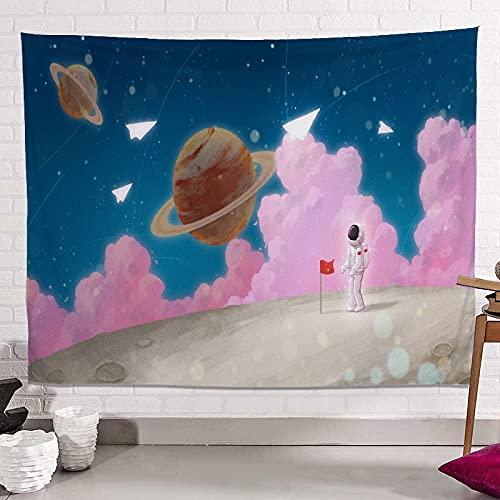KHKJ Tapiz de Astronauta y arcoíris Mandala Hippie Tapiz de Encaje Tapiz Decorativo Bohemio para Colgar en la Pared Mural Decorativo de la NASA A6...