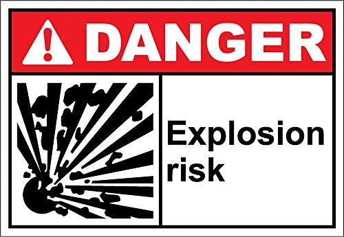 Yilooom Calcomanía de advertencia de riesgo de explosión de vinilo etiqueta de alerta calcomanía de 7 x 10 pulgadas