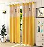 Soulful Creations Polyester Floral Curtain, 4 X 7, Yellow, Pack of 2