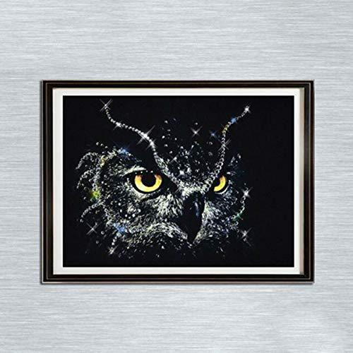 Leezeshaw 5d bricolage Diamant Peinture par numéro Kits Fameless Strass Broderie peintures photos pour décoration de maison – Chouette (39,9 x 30 cm/40 x 30 cm) Frameless Owl-11